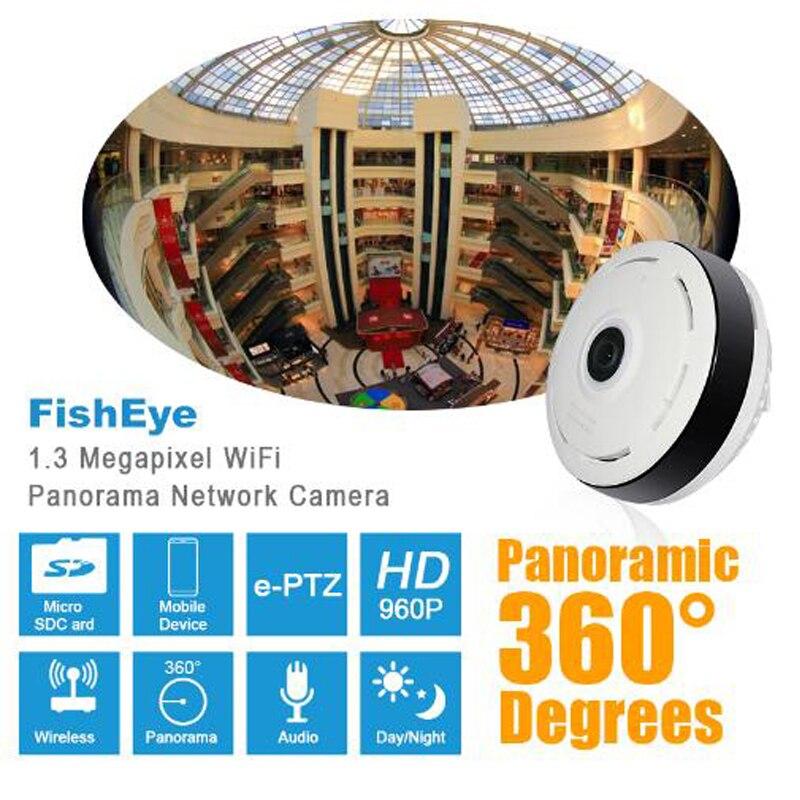 все цены на HD 960P Panoramic IP camera 360 degree Full View Mini fisheye CCTV Camera 1.3MP Network Home Security WiFi Camera онлайн