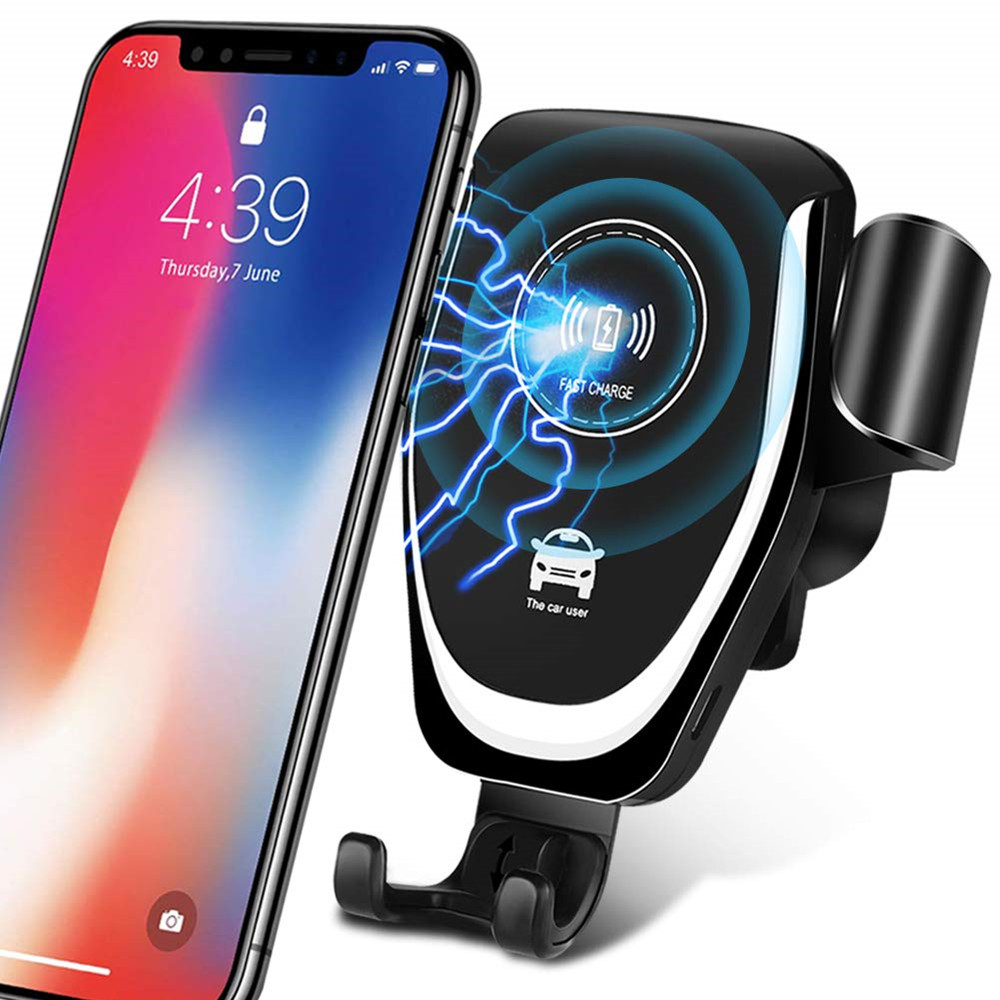 Wireless-Charger Cable-Support Xiaomi iPhone X Fast-Charging-Phone-Charger Qi Car 360-Rotation