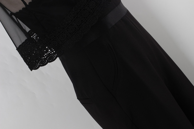 Новые осенние и зимние женские пользовательского Винтаж плащ Sexy Back Кружева Черный Комбинезоны для женщин Сиамские