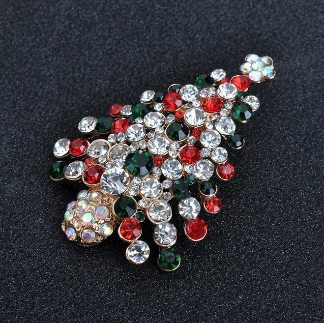 5 Pcs Lot Cute Holiday Pin Crystal Christmas Tree Brooch