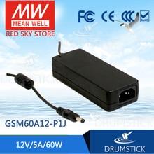 цена на [XIV] Hot! MEAN WELL original GSM60A12-P1J 12V 5A meanwell GSM60A 12V 60W AC-DC High Reliability Medical Adaptor