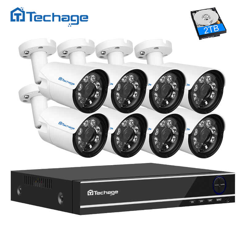Techage 4mp HD CCTV System Kit 8CH AHD DVR 8PCS 4.0mp 2560*1440 Security Camera Outdoor Surveillance DIY Kit Easy Remote View home security systm 1080p ahd cctv camera kit 4 channel ahd dvr 4pcs outdoor ir night 2 0mp full hd camera ahd surveillance kit