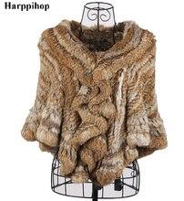 Harppihop 2017 womens rex rabbit fur cape hair cloak short design shawl poncho free shipping