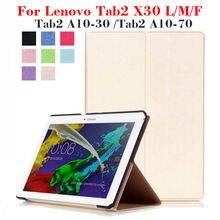 X30f tab2 case cubierta de cuero de la pu para lenovo tab2 a10-30 a10 30 x30l a10-70 tablet 10.1 pulgadas imán case soporte x30m tb2-x30l + regalo