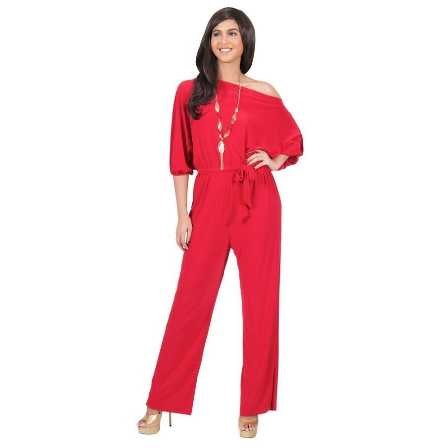FK1522 Lady Fashion Solid Color Jumpsuits Slash Neck Batwing Sleeve Lace-up Elastic Waist Full Length Straight Pants Rompers ...