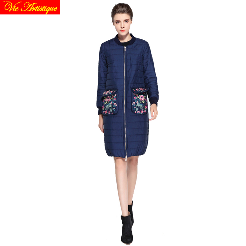 Embroidery floral winter casual jacket woman parka fem me female long coats jackets big size wine pink navy jazzevar miegofce