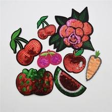 50pcs fruit/cherry/ Sequin Iron On Patch- Appliques Crafts Fruit Sew Patches Badge