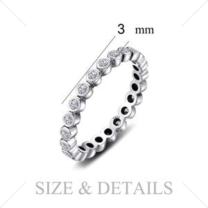Image 5 - JPalace Cubic Zirconia Ring 925 Sterling Silver Rings for Women Stackable Ring Eternity Band Silver 925 Jewelry Fine Jewelry