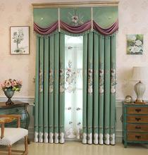 Princess style European small luxury pastoral chefney curtains bedroom shade fresh American country embroidery upscale
