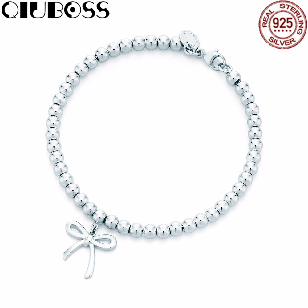 new styles cadd5 76dbb QIUBOSS Product TIFF 925 Standard Sterling Silver Fashion Bow Tie Design  Bracelet DIY Gift Jewelry Free Package Mail