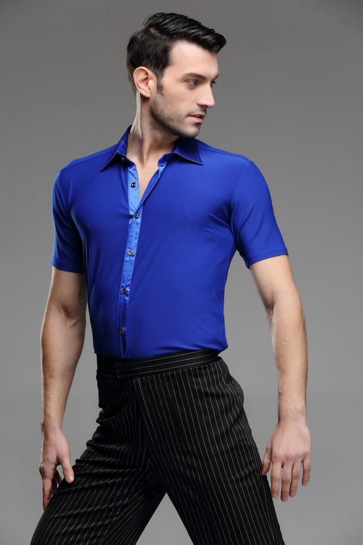 Picture of 2016 Spring And Autumn Short Sleeve Shirt Male Dance Adult Modern Dance Clothes Latin Dance Rumba Chacha Samba Ballroom Shirt