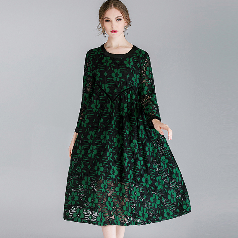 2019 Spring Floral Lace Long Dresses Plus Size O Neck Full