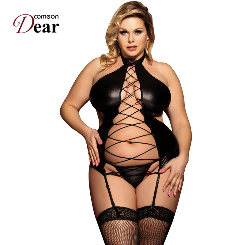 Comeondear Black Halter Sex Clothes Costume Erotic Plus Size Babydolls Sexy For Women Sexy Hot Faux Leather Lingerie RA80467