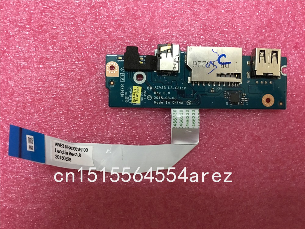 Original FOR LENOVO U31 U31-70 USB Audio Headphone Jack SD Card Reader Board with cable LS-C311P