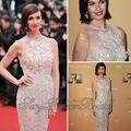 Sexy Paz Vega Red Carpet Dress O cuello del A-line con las perlas altura del tobillo de Tulle vestidos fiesta Celebrity nueva