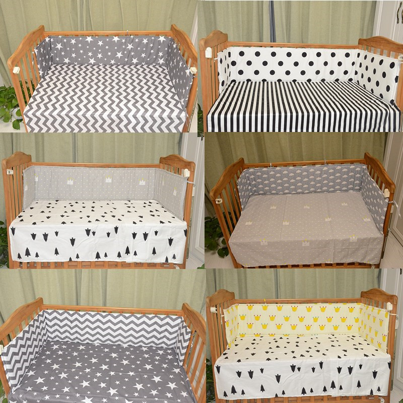 Baby Bumpers In the Crib For Newborn Cotton Linen Cot Bumper Baby Bed Protector Cortch To The Cot (1pcs bumper only) 200*29cm start line