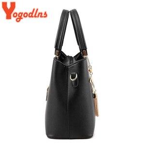 Image 3 - Yogodlns Klassische Reine Farbe Frauen PU Leder Tote Quaste Taschen Weibliche Top griff Handtasche Mode Umhängetasche umhängetasche für dame