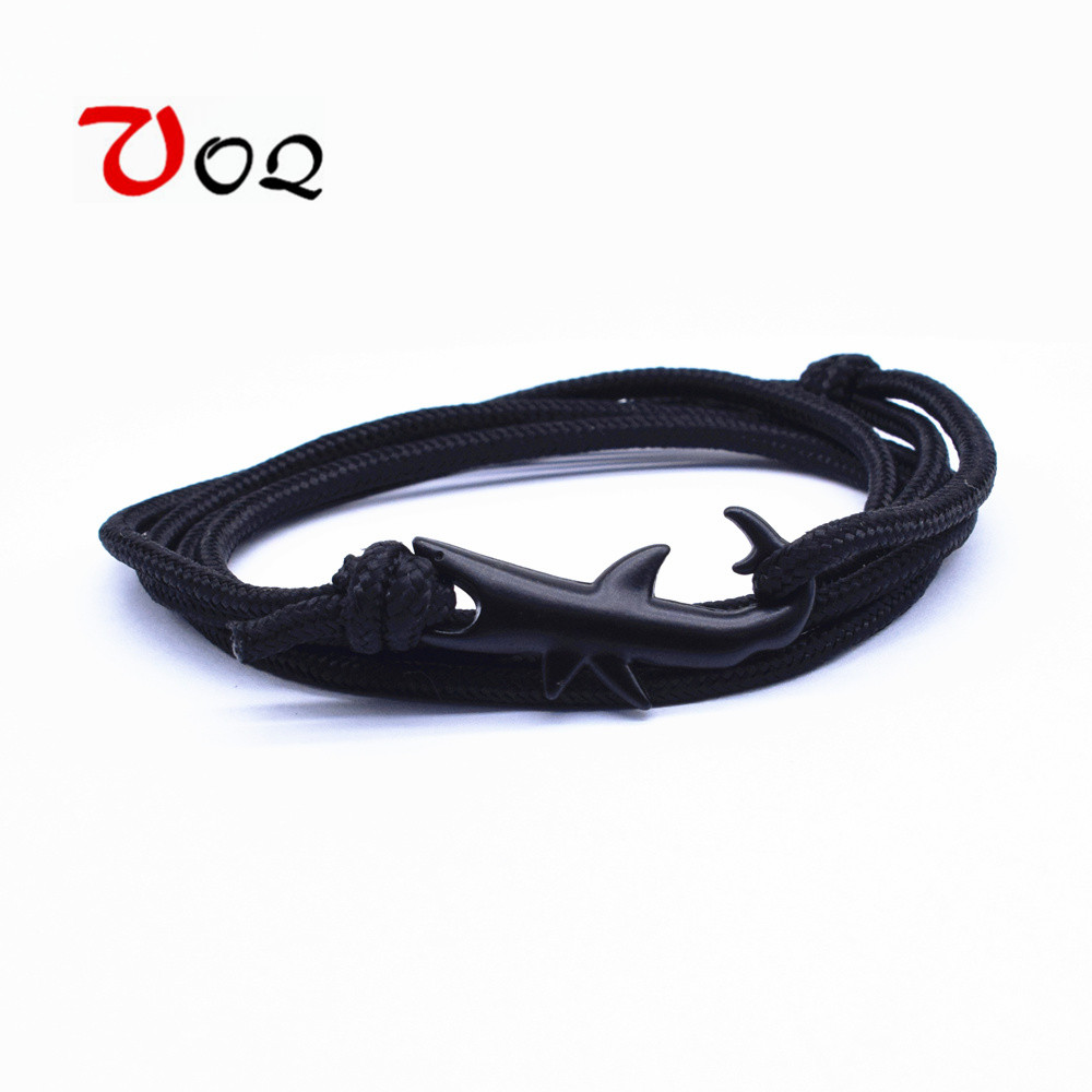 13 Colors Nylon Rope Chain Bracelets for Women Men Ocean Shark Charm Bracelet Popular Jewelry Anchor Bracelet 2018 Hot Sale(China)
