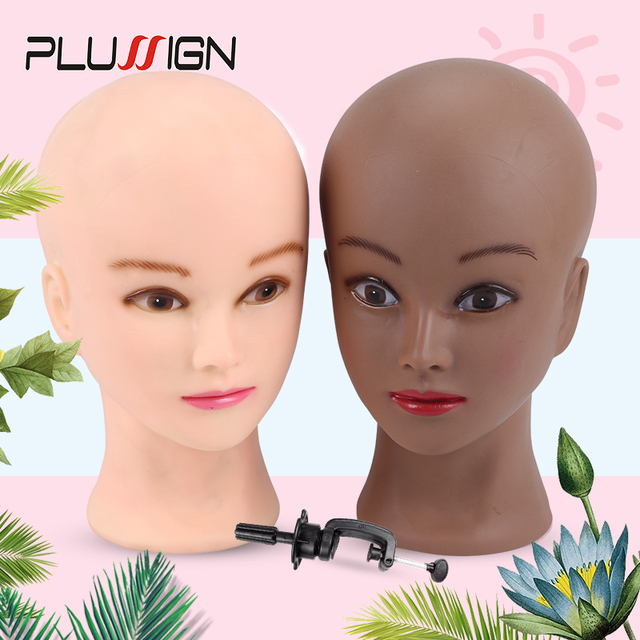 Plussign 20,5 дюйма голова манекена для париков с подставкой, лысый парик с подставкой, пенная головка для макияжа белого и темно коричневого цвета