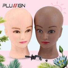 Plussign Cabeza de Maniquí de 20,5 pulgadas para pelucas con soporte, cabeza de peluca calva con soporte, cabeza de espuma para maquillaje, Color blanco y marrón oscuro