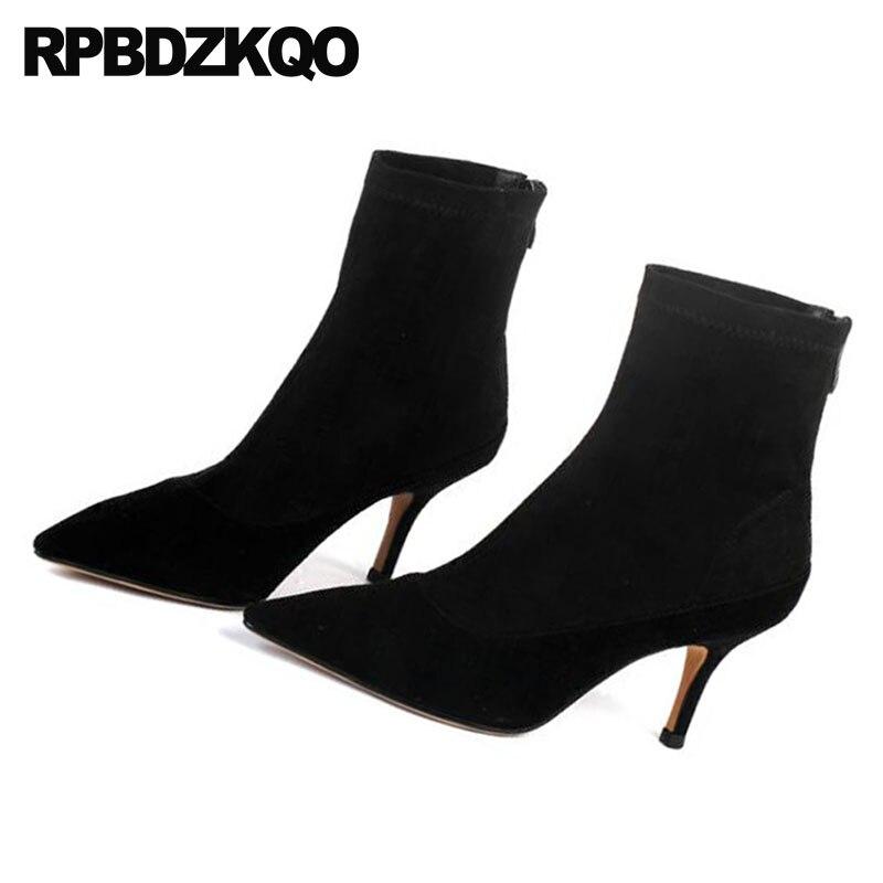 Tacón Otoño Dedo Oveja Piel Invierno Las De Suede 2018 Cuero Punta Genuino Zapatos Del Corto Marca Stiletto Negro Pie Alto Mujeres PqftS