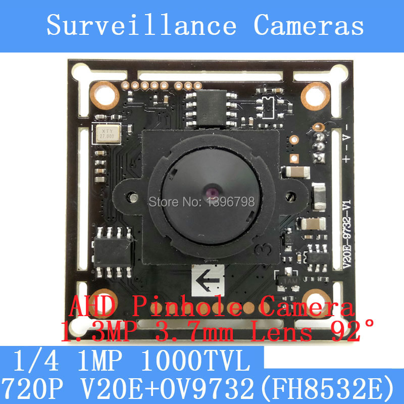 1MP AHD 4in1 mini pinhole camera CCTV 720P mini night vision camera module 1/4V20E+OV9732 HD 1.3MP 3.7MM lens 92 degrees camera