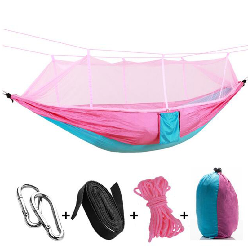 Купить с кэшбэком Portable Parachute Hammock Camping Survival Garden Flyknit Hunting Leisure Hamac Travel Double Person Hamak Plus mosquito nets w