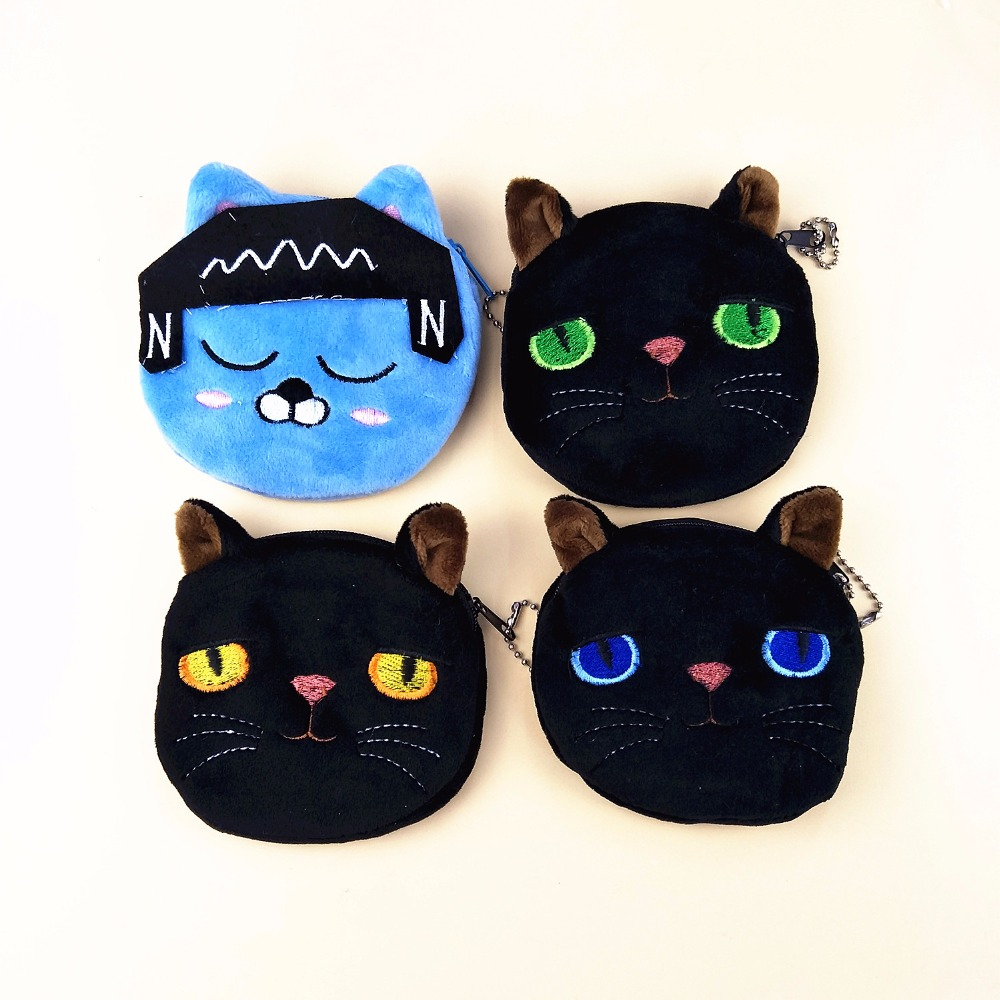 M167 Cute Cartoon Coin Purse Creative Black Cat Blue,yellow green Eyes squinting Listen To The Music Blue Cat Wallet Card Bag Selected Material
