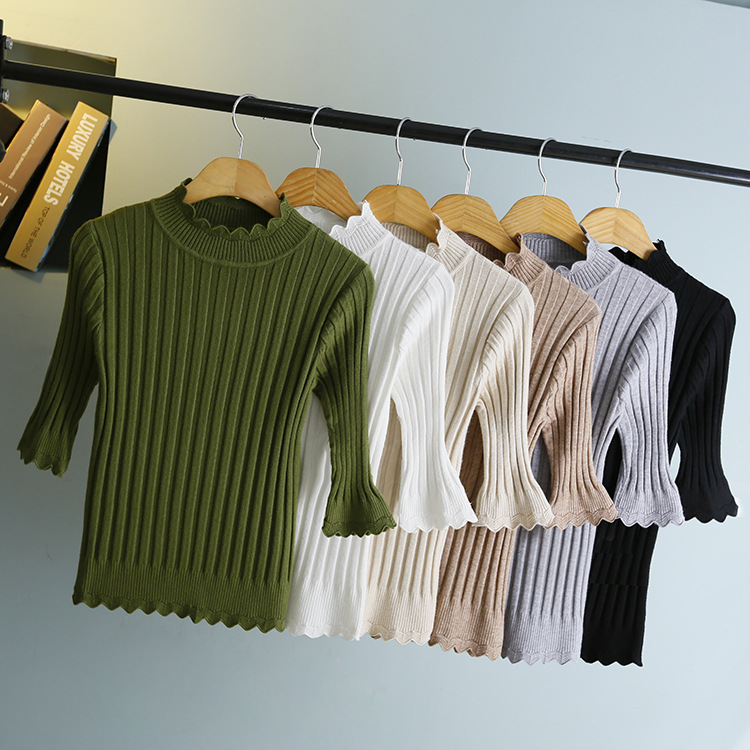 Ruffles Knitted Female T-shirt Crop Top Sexy Slim T Shirt Women Tops Tees Streetwear T-shirts 2018 Cropped