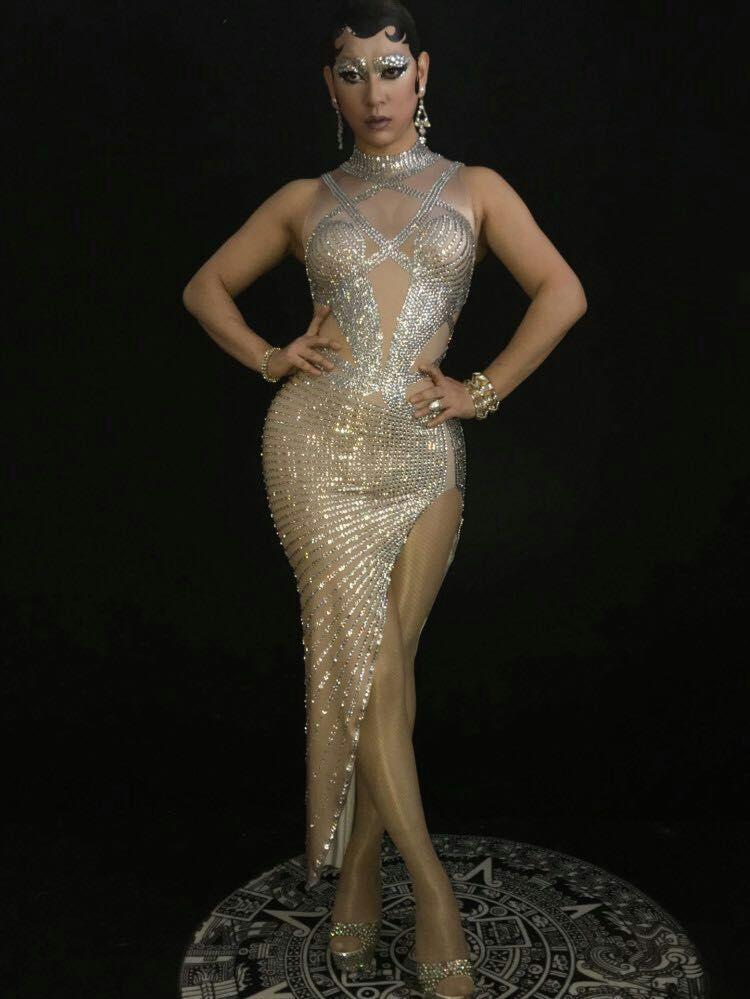 Bright Crystals Women Dress Sexy Diamond Birthday