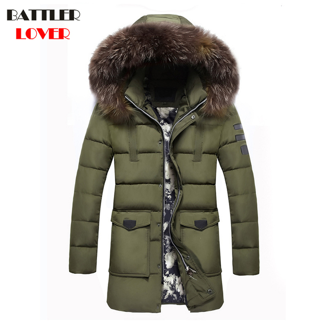 b3c9fa483f20d 2017 New Jackets Men Winter Fur Coats Long Thick Parkas Jacket Mens Brand  Clothing Parka Homme Male Fashion Hooded Down Jackets