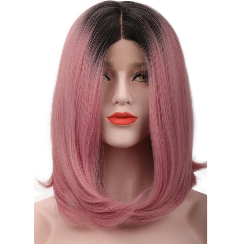 COLODO Black Ombre Pink Straight Short Bob Lace Front Artificial Hair Wigs Heat Resistant Middle Part Synthetic Lace Front Wigs