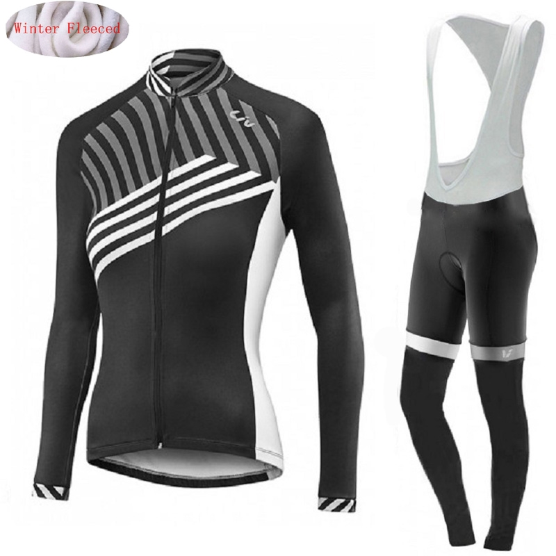Nouveau LIV 2019 femmes hiver thermique polaire cyclisme Jersey vélo pantalon ensemble hommes Ropa Ciclismo vélo long vêtements de vélo vêtements chaud