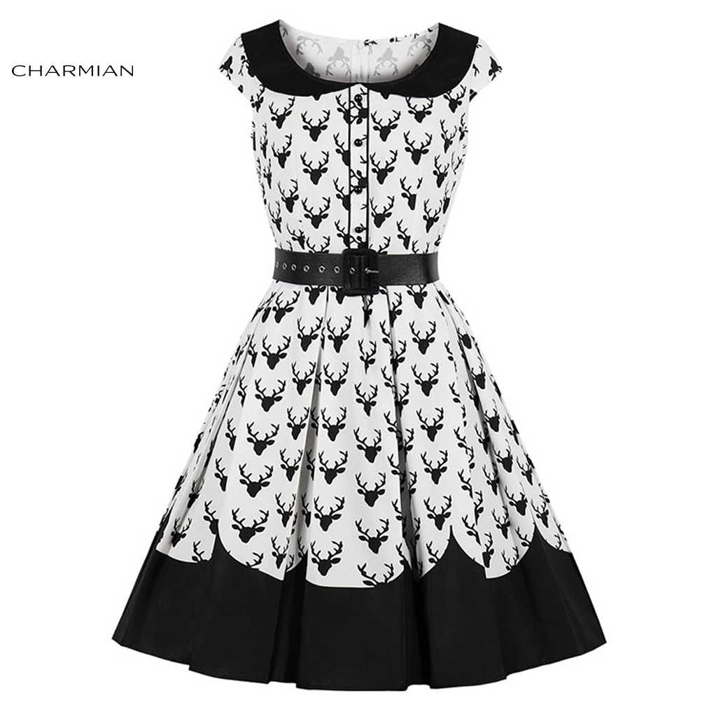 f06f4a7be04a Charmian Women's Vintage Black and White Reindeer Print Belted Lapel Short  Sleeves High Waist Midi Dress