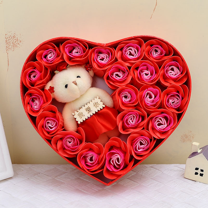 Flower Rose-Soap Heart-Box Wedding-Birthday-Gifts Love with Bear-Doll Bubble-Bath-Petals
