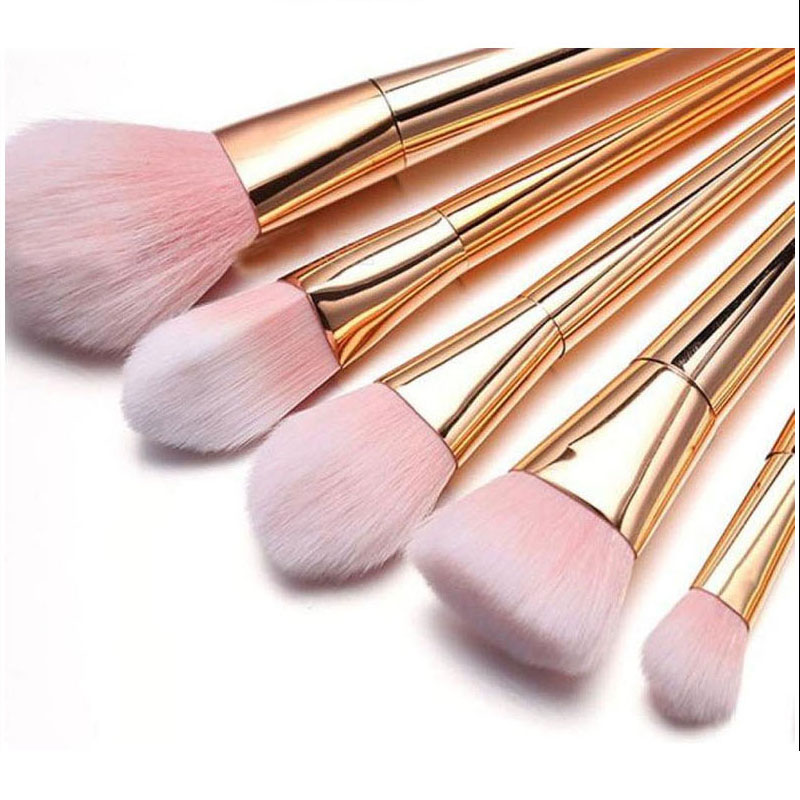 8b2cc6eedf7 7Pcs Rose Gold Makeup Brushes Set Synthetic Hair Blush Powder Foundation  Portable Make Up Brush Kits-in Eye Shadow Applicator from Beauty & Health  on ...