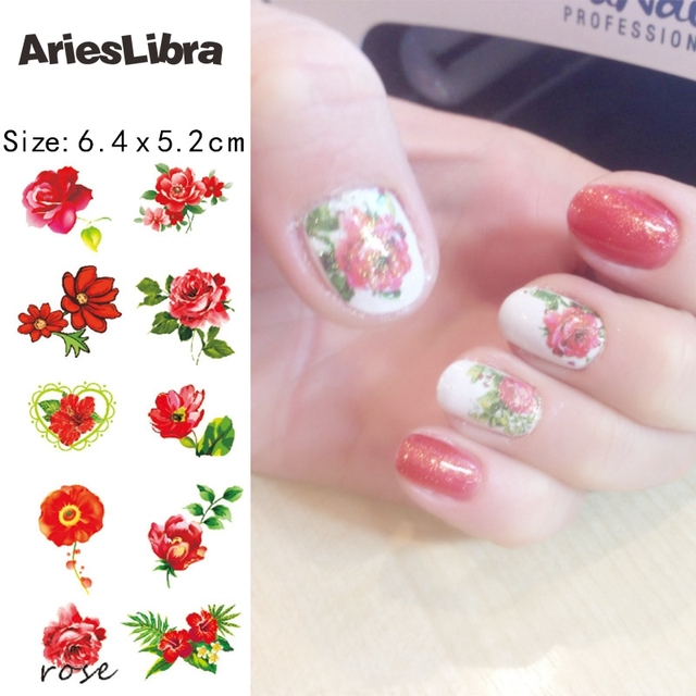 Arieslibra Nail Decal Beautiful Red Rose Designs For Water Transfer