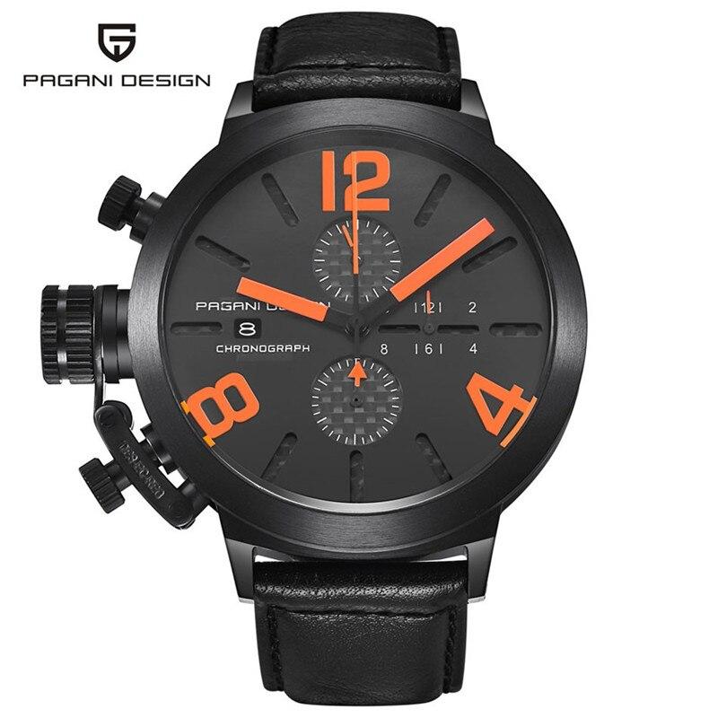 2017 NOUVELLE Pagani conception marque de luxe montres hommes Militaire En Cuir Hommes de Quartz Étanche Multifonction Montre Relogio Masculino