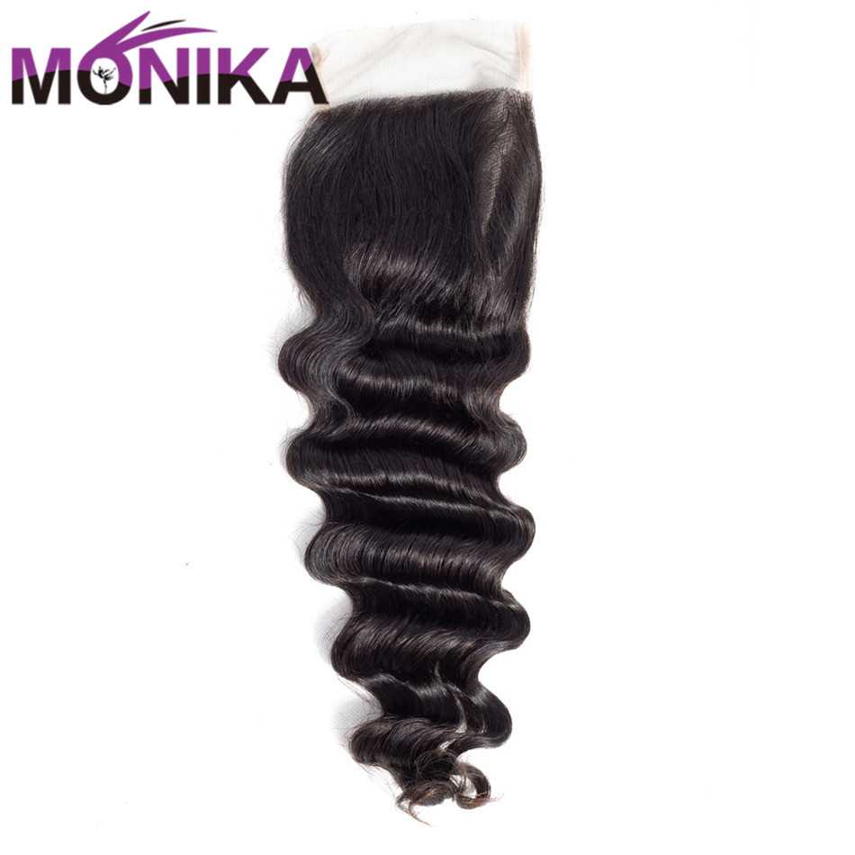 Monika Hair Loose Deep Closure 4*4 Brazilian Closure 8-22 Natural Color Middle/Free/Three/Customized Part available