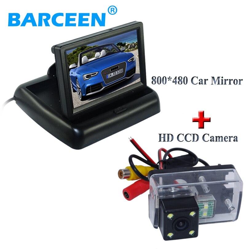 Moniteur arrière de voiture pliable écran couleur coque noire + caméra de vue arrière de voiture filaire 4 led pour Peugeot 206/207/407/307 (berline)/307SM