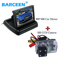 foldable car rear monitor color screen black shell +wire car rear view camera 4 led for Peugeot 206/ 207/407/307(Sedan)/307SM