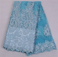 2017 African French Lace Fabric High Quality African Tulle Lace Fabric For Wedding Beaded French Lace