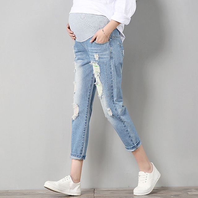 9b7b305028e39 Maternity Pants For Pregnant Women Pregnancy Embarazada Denim Jeans Spring Hole  Trousers Belly Capris Legging Clothing Overalls