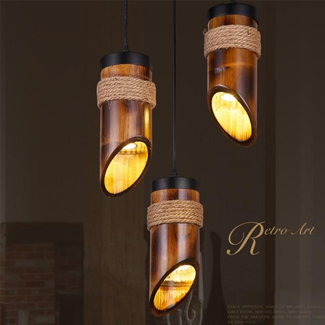 Loft Style Hemp Rope Bamboo Droplight Led Pendant Light Fixtures For Dining
