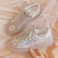 Spring Female Shoes Leather Silver Crystal Glitter Sneakers Ladies Flat Shoes harajuku Shoes Women Loafers baskets bambas mujer