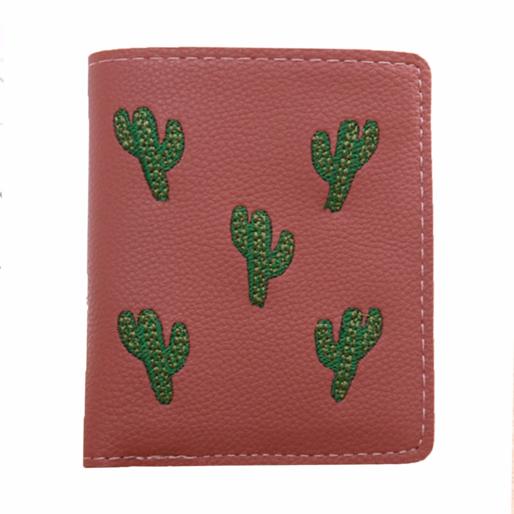 Women Embroidery Cactus Short Bi-fold Wallet Fashion Mini Coin Purse Lovely Buckle Female Carteira