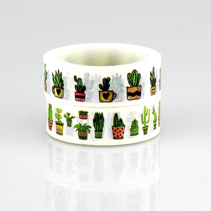 2 Rolls One Set Succulent Plants Christmas Washi Tape Japanese Paper 15mm*10m Cute Masking Tape Photo Album Diy Decorative Tapes