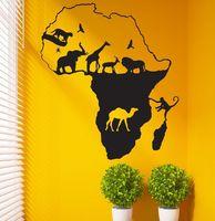 Afryka Mapa Naklejki Naklejka Zwierząt Winylowe Naklejki Ścienne Plakaty Quadro Pegatina Wystrój Mural Parede Afryka Mapa Naklejki
