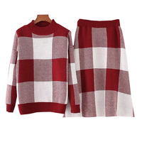 OL 2018 Autumn Spring New Plaid Knitting Loose Casual Women S Sweatshirt Loose Lattice A