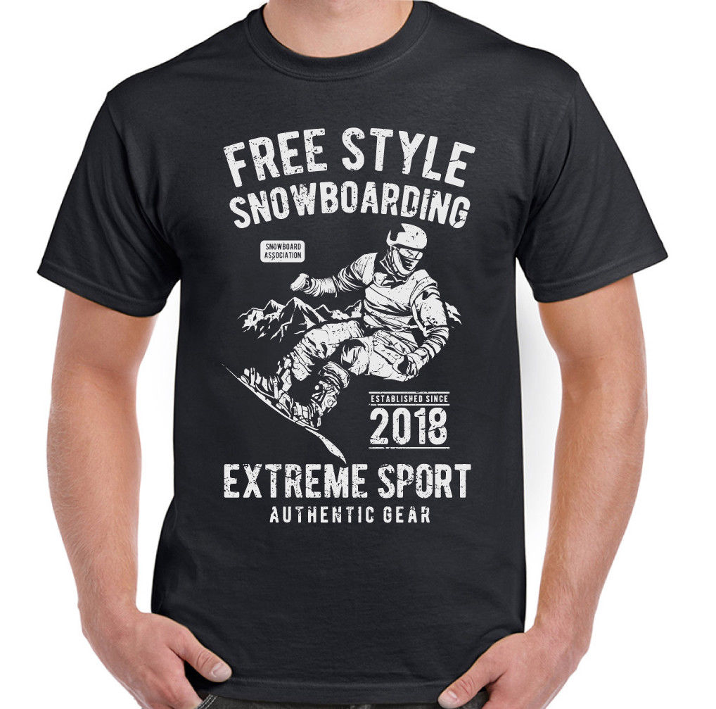 Freestyle Snowboarding Mens Funny T-Shirt Snowboard Boots Piste Snow Extreme